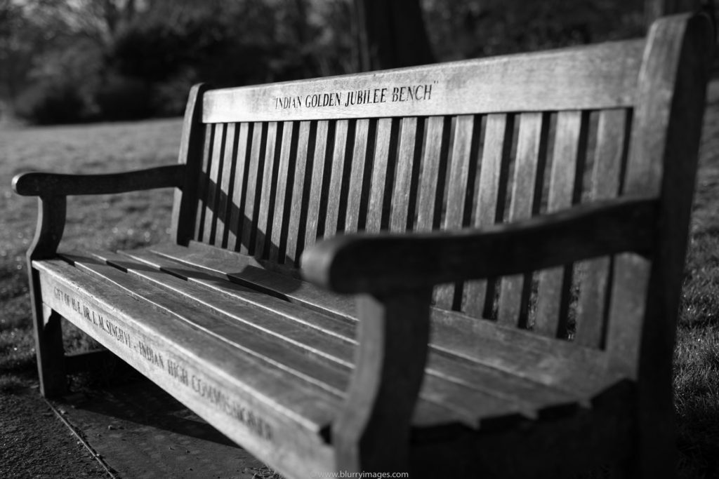 Bench, wooden bench, bench in Hyde Park