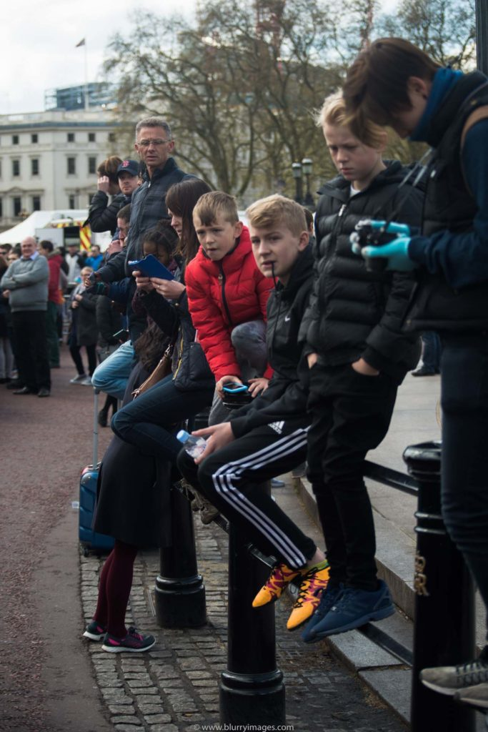 Spectators watching runners during marathon, London 2016